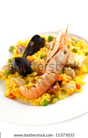Traditional Spanish food - Paella - stock photo