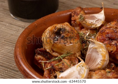Traditional Spanish garlic chicken
