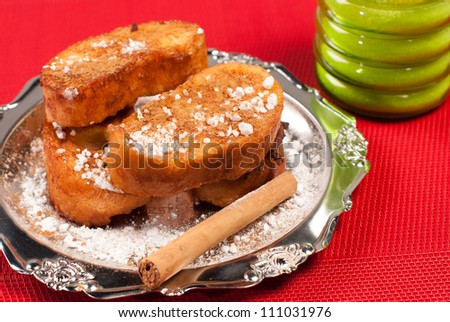 Traditional  Spanish torrijas, sweet fried bread slices scented with cinammon