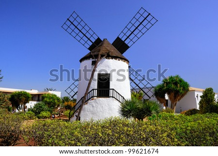 Traditional Spanish windmill in Canary island, Fuerteventura, Spain