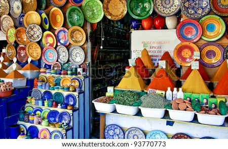Traditional spice market in Essaouira / Morocco