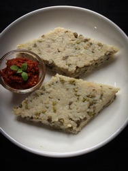 Traditional Sri Lankan breakfast food , Green gram milk rice with  srilankan chilli  paste .