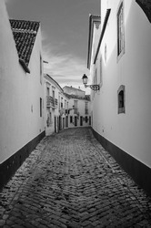 Traditional Street of Oldtown of Faro , Algarve -Portugal