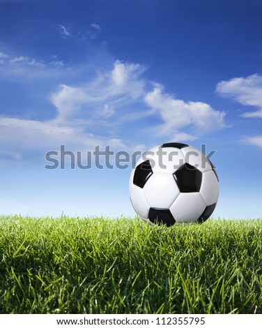 Traditional style soccer ball on grass with blue sky and clouds