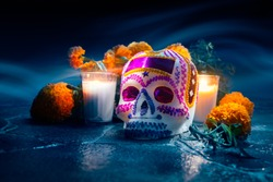 Traditional sugar skull used at mexican offerings or