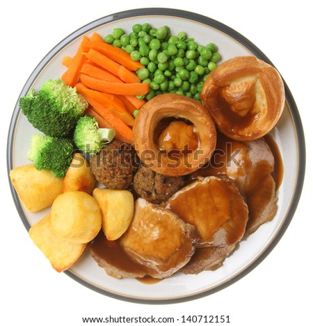 Traditional Sunday roast pork dinner.