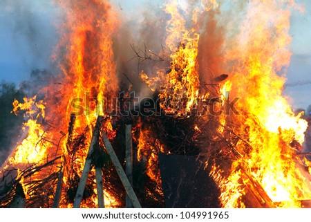 Traditional Swedish Walpurgisnight fire - stock photo