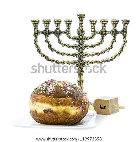 Traditional symbols of Jewish holiday Hanukkah isolated on white