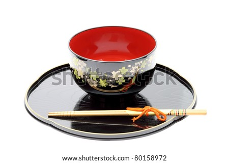Traditional tableware of Japan, chopsticks and bowl