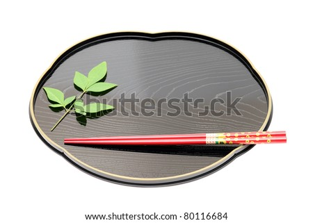 Traditional tableware of Japan, chopsticks and tray