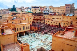 Traditional tannery in ancient medina of Fez, Morocco