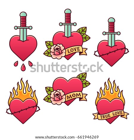Traditional tattoo set. Classic American old school heart tattoos with daggers, roses, ribbons and fire, thorn crowns and drops of blood. Scrolls with text: Mom, Love, True love.