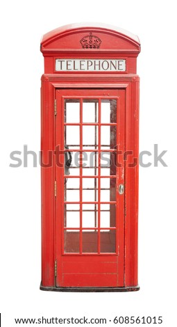 Traditional telephone booth in London, UK. isolated on white background       #608561015