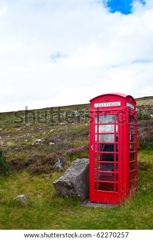 Traditional telephone box in Scotland, in the middle of nowhere