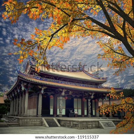 Traditional temple with nice maple in front of it