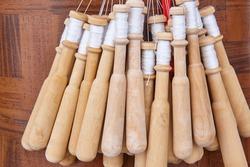 Traditional textile bobbin loom artisan craftmanship made in Camarinas. Spain