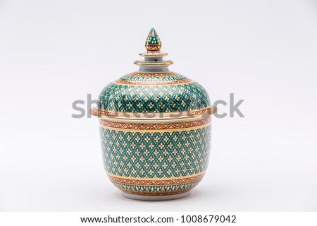 Traditional Thai Benjarong, ceramic, Thailand, Thai art and craft, Thai earthenware, Benjarong on white background  #1008679042