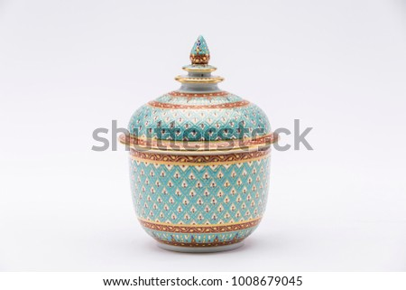 Traditional Thai Benjarong, ceramic, Thailand, Thai art and craft, Thai earthenware, Benjarong on white background  #1008679045