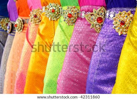 Traditional thai dance dress, Bangkok - stock photo