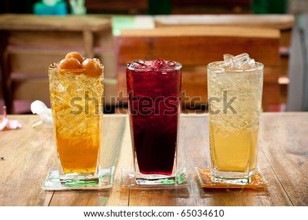 traditional thai drink,fruit and herbal cold drink.