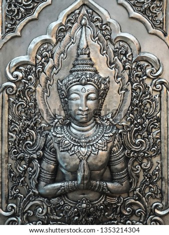 Traditional Thai Hand Carved Silver Panel with the Guardian Angel on the Temple Wall