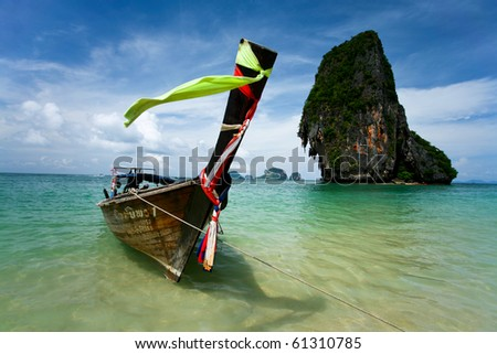 Traditional Thai longtail boat at the beach, Tarutao, Thailand