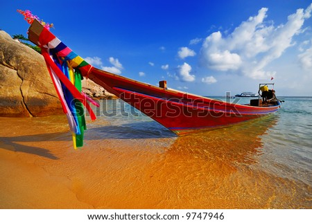 Traditional Thai Longtail boat on the beach