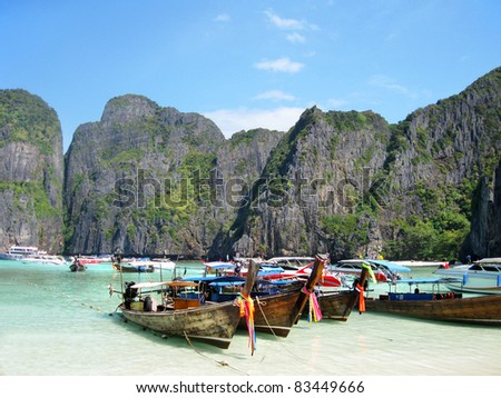 Traditional Thai Longtail boats at  Maya Bay, The Beach Movie, Phiphi Island, Krabi Province, South of Thailand