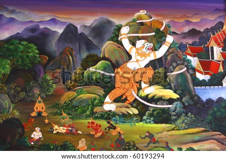 Traditional Thai style art painting on temple\'s wall (Ramayana story)