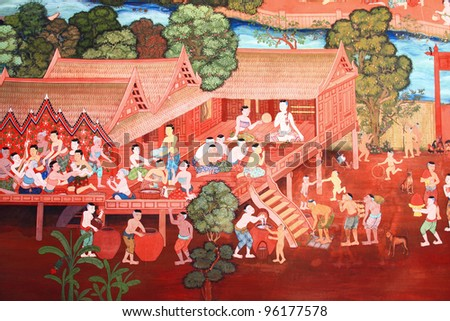 Traditional Thai style art with the story about Buddha.