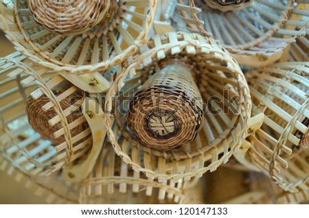 Traditional Thai style basketwork purses made by bamboo