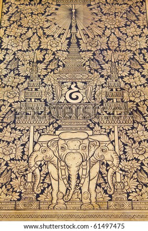 Traditional Thai style painting art elephant image in Temple Bangkok Thailand
