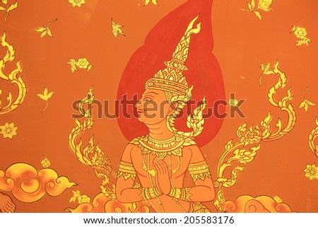 Traditional Thai style painting art on temple wall at Wat Khun-Intra Pramul, Ang Thong,Thailand