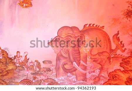 Traditional thai style painting image on the wall, Temple Thailand