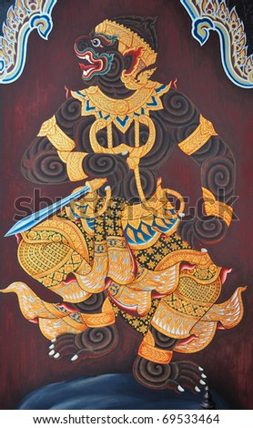 "Traditional Thai style painting  ""Ramayana"". This is traditional and generic style in Thailand. No any trademark or restrict matter in this photo."