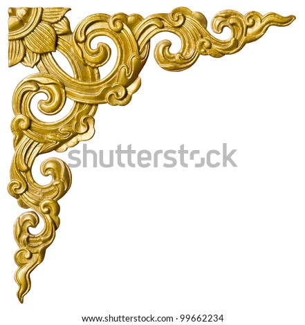 Traditional Thai style pattern decorative isolated on white background in temple,Thailand.