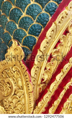 Traditional Thai style pattern decorative, stucco gold paint in temple,Thailand.  #1292477506