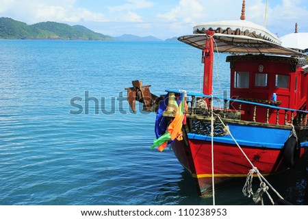 Traditional Thailand ship waiting for tourists on Koh Chang island