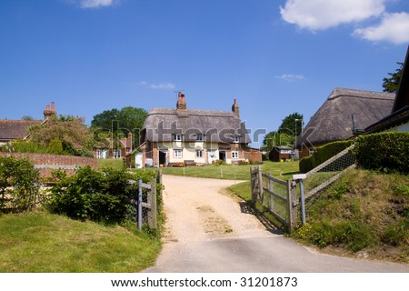 Traditional thatched cottages in Dorset, England
