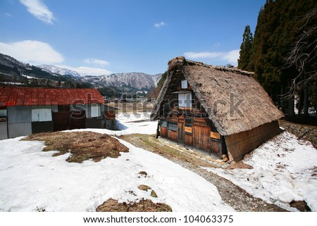 Traditional thatched roof house at  historic village Shirakawa-go, UNESCO World Heritage Site in winter season, Japan