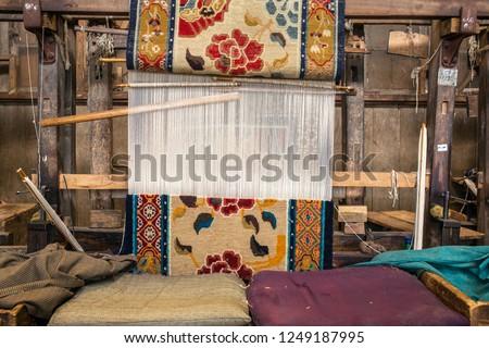 Traditional tibetan сarpet workshop of Tibetan Refugee Self Help Center, Darjeeling, India
