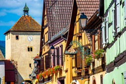 Traditional timbered house along the street, Turckheim, Alsace, France. Turckheim is one of the famous cities in Alsace scenic route near Colmar, France