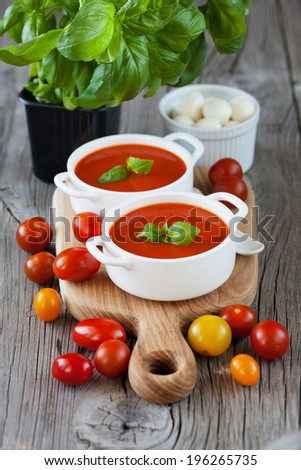 Traditional tomato soup with basil on dark wooden background, selective focus