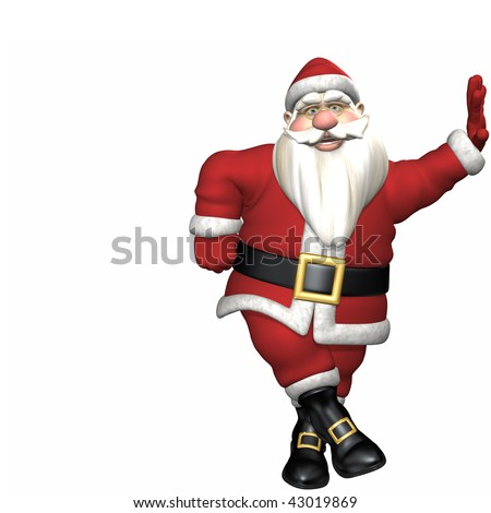Traditional toon Santa leaning his left. Isolated on a white background.