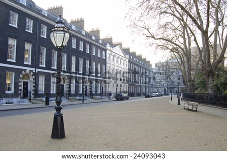 Traditional town houses at Bedford Square in London, England