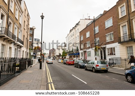 stock photo traditional town houses at belgravia district in london england 108665228 - Каталог — Фотообои «Улицы, переулки»