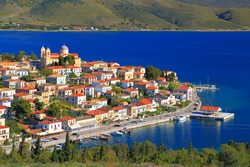 Traditional town surrounded by blue sea, Greece