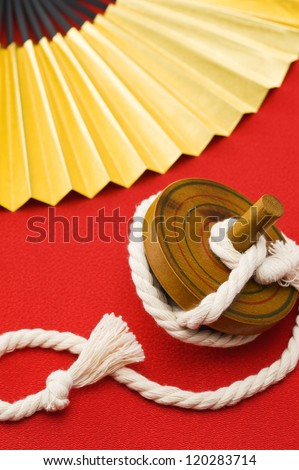 traditional toy and folding fan, japanese new year decoration