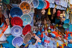 Traditional tunisian ceramics shop in Medina quarter of Kairouan city of Tunisia, Africa, a World Heritage Site by the Unesco