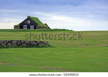 Traditional turf house of Iceland.